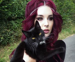 black, hair, and cat image