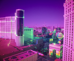 city, neon, and pink image