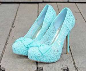 blue, bow, and heels image
