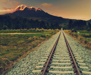 landscape, mountains, and train image