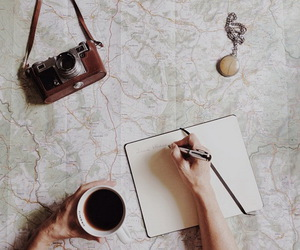 coffee, map, and vintage image