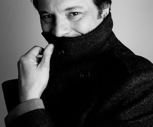 black and white, Colin Firth, and portrait image