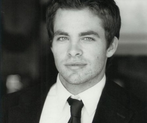 chris pine, actor, and black and white image