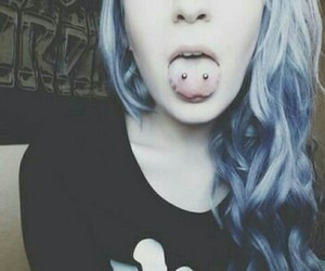 piercing, hair, and blue hair image