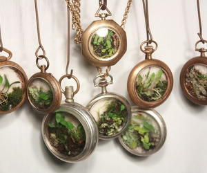 necklace, plants, and green image