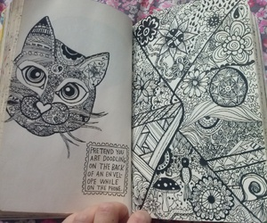 cat, zentangle, and doodle image