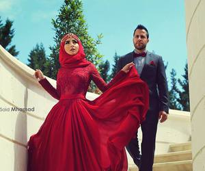 red, fashion, and hijab image
