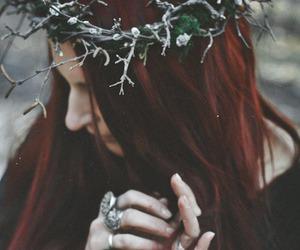 red hair, hair, and dark image