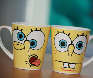 spongebob, cup, and yellow image