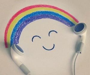 music, rainbow, and smile image