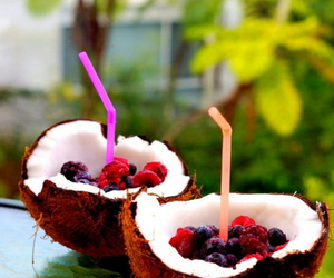 coconut, berries, and food image
