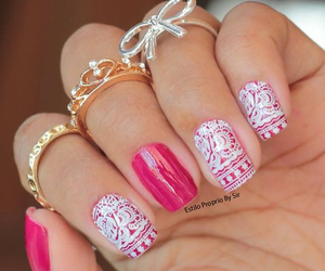 girly rings pink nails image