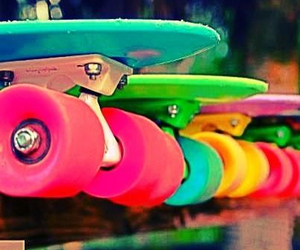 colourful, neon, and penny board image