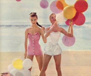 balloons, girl, and beach image