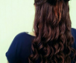 bow, brown, and curly image