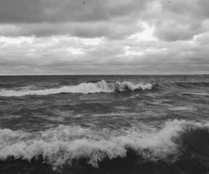 sea, black and white, and ocean image