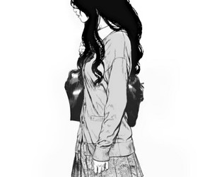 alone, anime, and b&w image