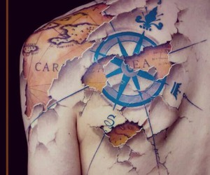 tattoo, map, and black and white image