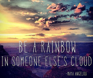 quotes, rainbow, and clouds image