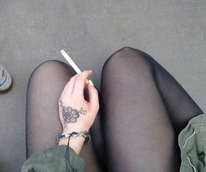 cigarette, tattoo, and thighs image