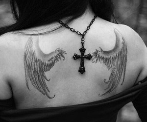 tattoo, wings, and black and white image