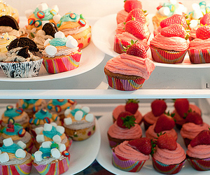 cupcake, strawberry, and food image
