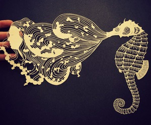 art, Paper, and seahorse image