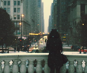 city, girl, and winter image