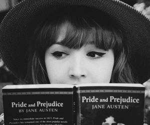 book, girl, and pride and prejudice image