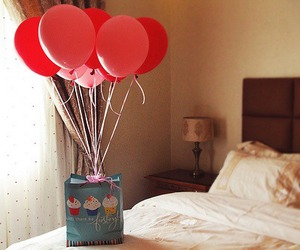 balloons, gift, and bed image