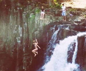 waterfall, summer, and jump image
