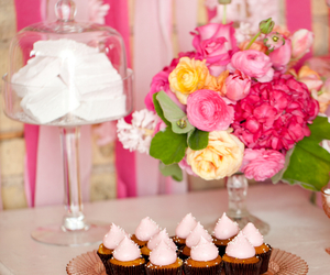 cake, sweets, and flowers image