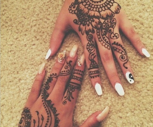 henna, nails, and black image