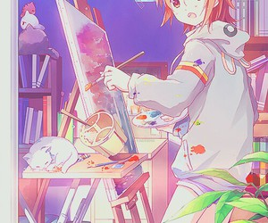 anime, anime girl, and painting image