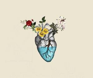 heart, flowers, and art image