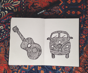campervan, camping, and drawing image