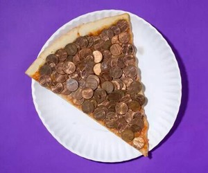 money, pizza, and food image