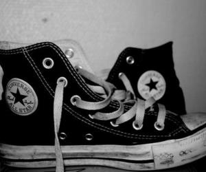 black and white, shoes, and all star image