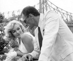 Marilyn Monroe, arthur miller, and black and white image