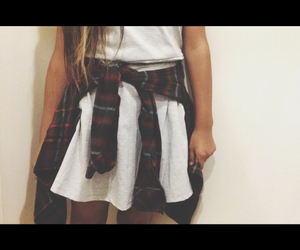 flannel, outfit, and blonde tip hair image