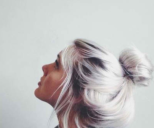 bun, violet hair, and girl image