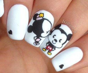 nails, white, and minnie image