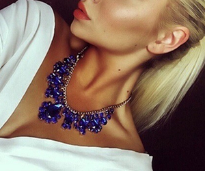 blonde, necklace, and blue image