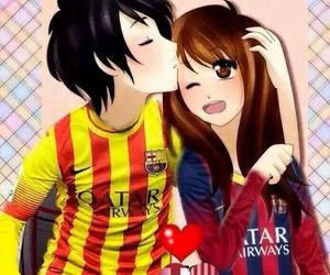 anime, Barca, and couple image