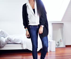 black and white, cardigan, and denim image
