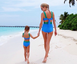 beach, blonde, and mom image