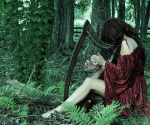 forest, harp, and nature image