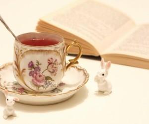 tea, book, and rabbit image