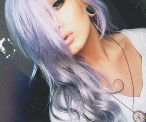girl, purple hair, and girly image