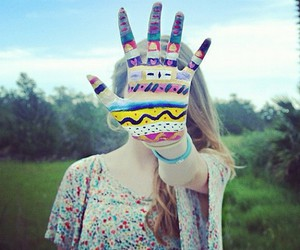girl, hand, and aztec image